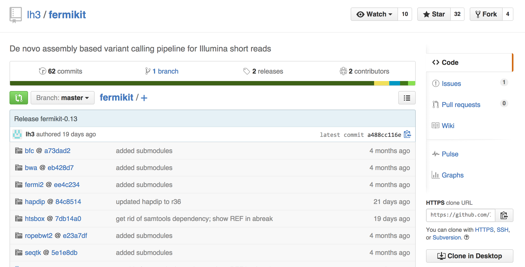 Screenshot of fermikit on github